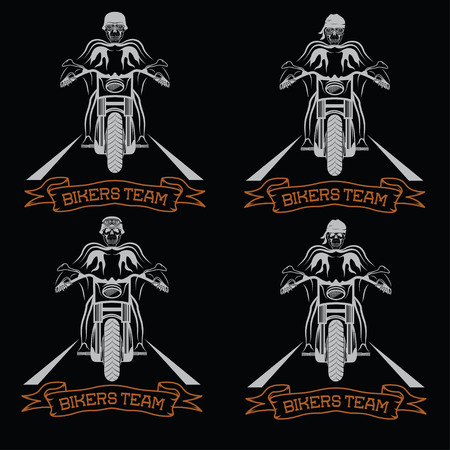 spurt: biker theme labels with motorbike and skull