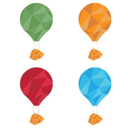 adventure aeronautical: air balloons set polygon art Illustration