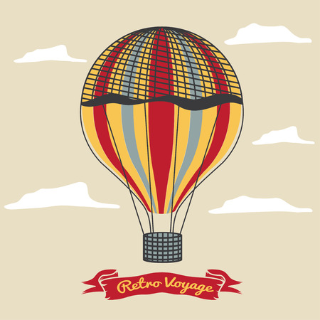 adventure story: Vintage hot air balloon in the sky with clouds