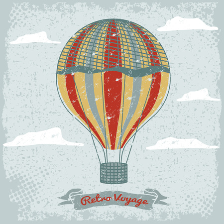 air travel: grunge vintage hot air balloon in the sky with clouds
