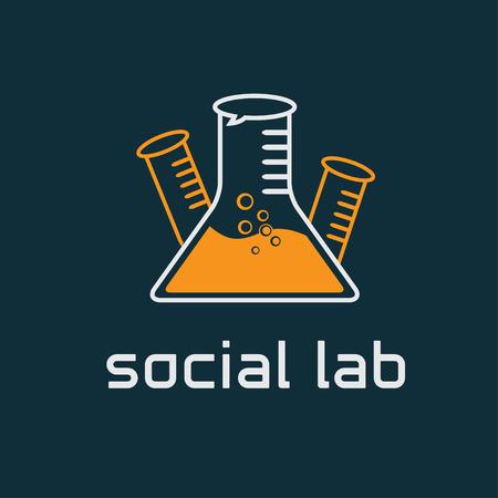 social lab concept vector design template Çizim