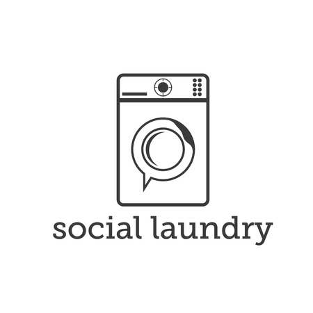 laundry concept: social laundry concept with washing machine