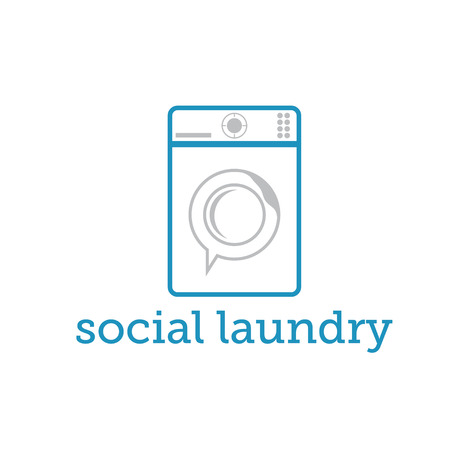 social laundry concept with washing machine Vector