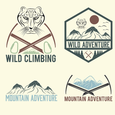 snow leopard: set of vintage labels mountain adventure with snow leopard Illustration