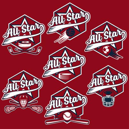 major league: set of vintage sports all star crests