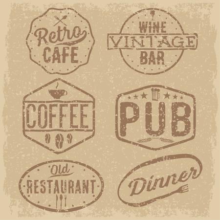 set of vintage cafe ,pub,wine bar and restaurant emblems Vector