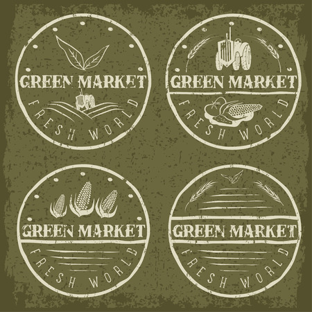shed: set of vintage labels of green market with tractor and vegetables