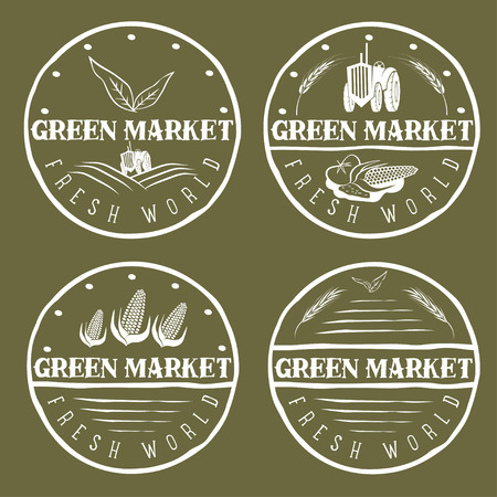 agrimotor: set of vintage labels of green market with tractor and vegetables