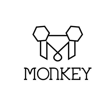jumping monkeys: monkey monogram Illustration