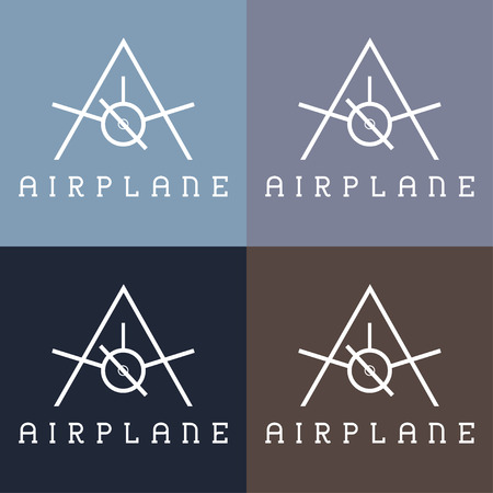 aeroplane: airplane monogram Illustration
