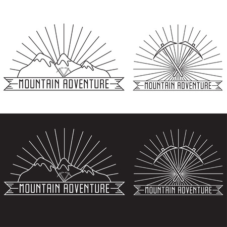 ice axe: set of vintage line craft labels mountain adventure Illustration
