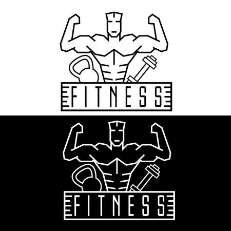 crossbar: Bodybuilder Fitness Model line craft emblem