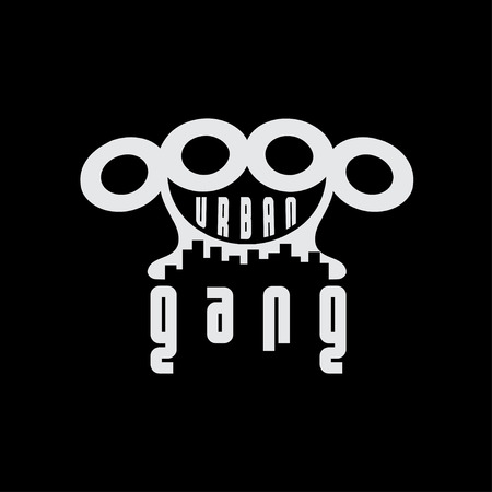 the gang: urban gang emblem with brass knuckles