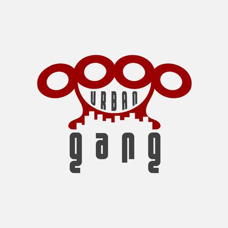 pandilla: emblema pandilla urbana con puños americanos Vectores