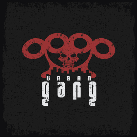 the gang: urban gang grunge emblem with brass knuckles and skull Illustration