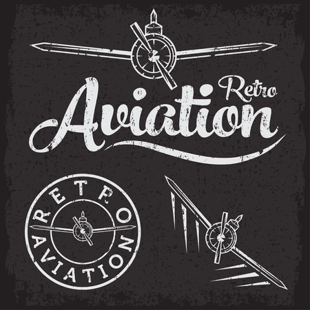 airscrew: retro grunge aviation label Illustration