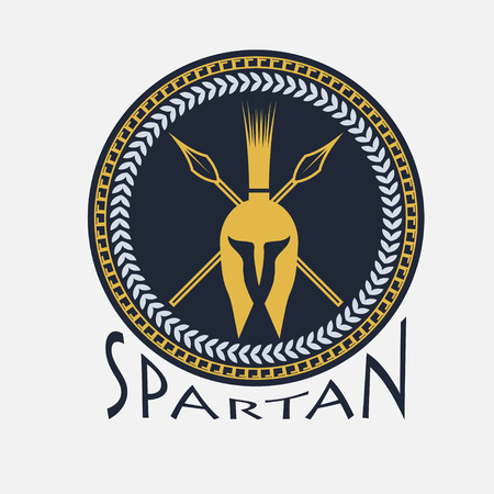 spears: spartan helmet with spears and shield