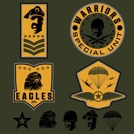 fallschirmj�ger: Spezialeinheit Milit�r Emblem Set Vektor Entwurfsvorlage Illustration