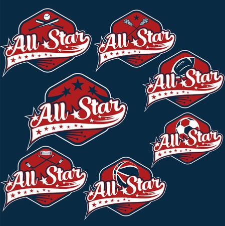 set of vintage sports all star crests