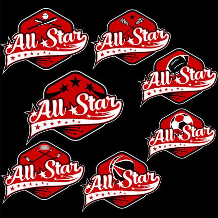 estrella: juego de deportes del vintage todas las crestas estrella