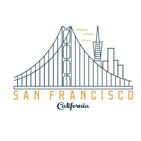 san francisco bay: skyline of San Francisco vector design template Illustration