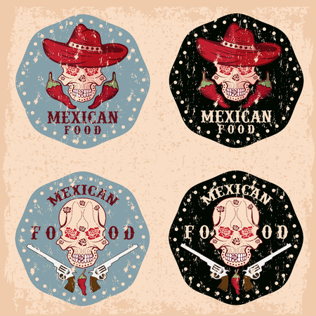 vector grunge skull in a Mexican sombrero with chili peppers,flowers and guns Vector