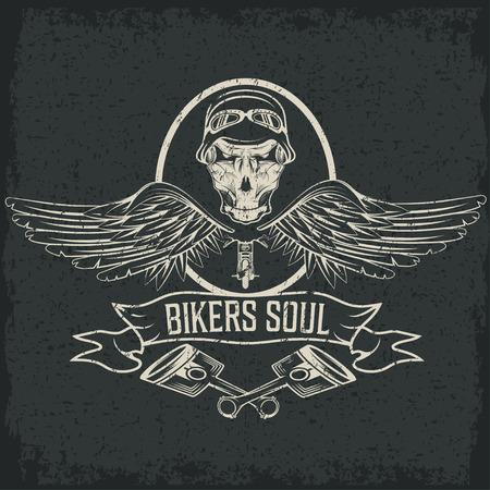 étiquette thème motard avec pistons et des crânes avec des ailes Vecteurs