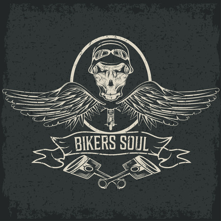 eagle tattoo: biker theme label with pistons and skulls with wings