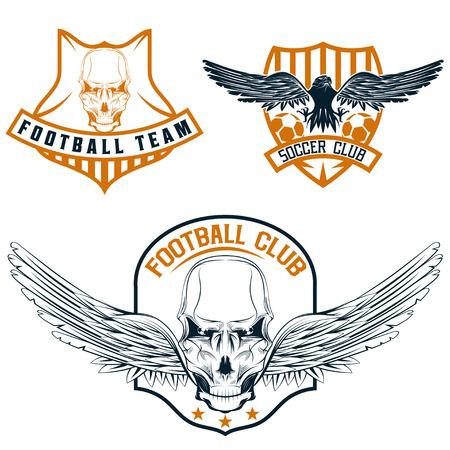 strip club: football team crests set with eagles and skulls Illustration