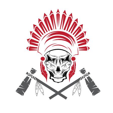 american tomahawk: Native American chief skull in tribal headdress with tomahawks