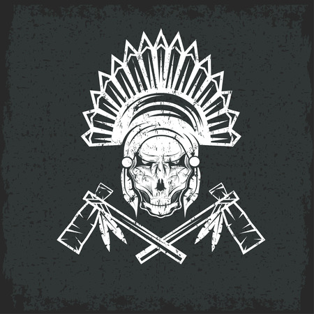 redskin: Native American chief skull in tribal headdress with tomahawks