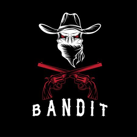 Bandit Schedel Met Revolvers Stock Illustratie