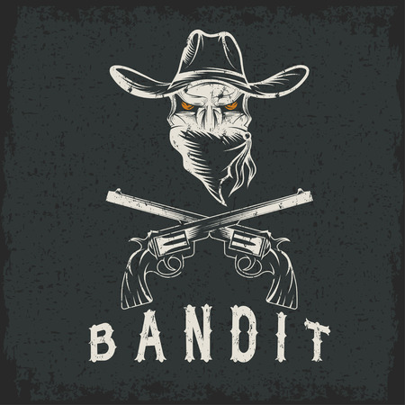 gangsta: Grunge Bandit Skull With Revolvers Illustration
