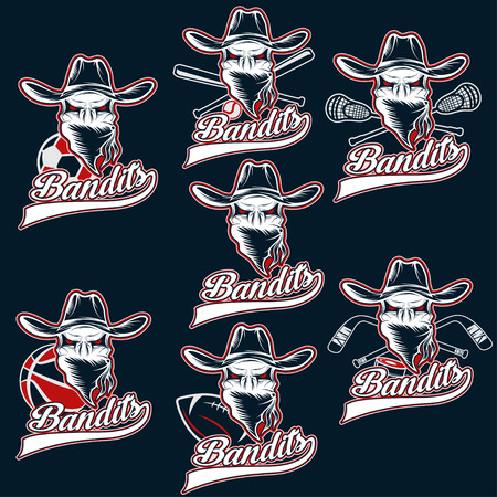 shootout: set of skull bandit sports labels
