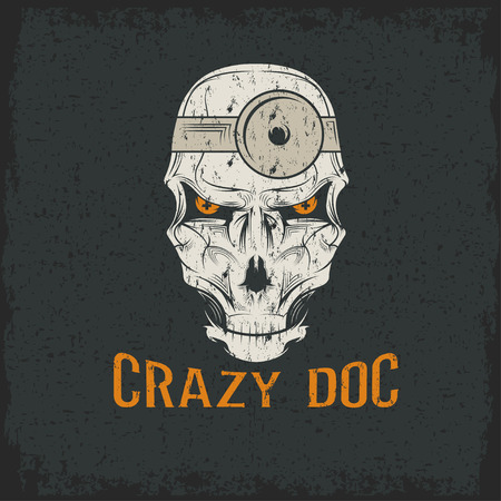 crazy doctor skull Vector