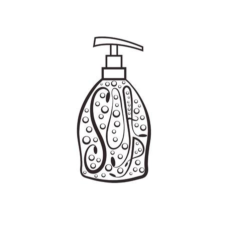 lavarse las manos: Dispensador de jabón con burbujas Vectores