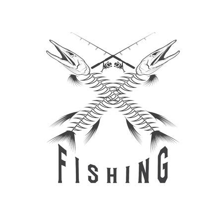 largemouth: vintage fishing emblem with skeleton of pike