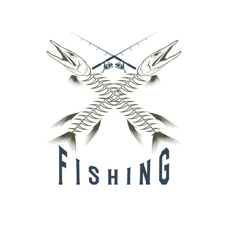 vintage fishing emblem with skeleton of pike