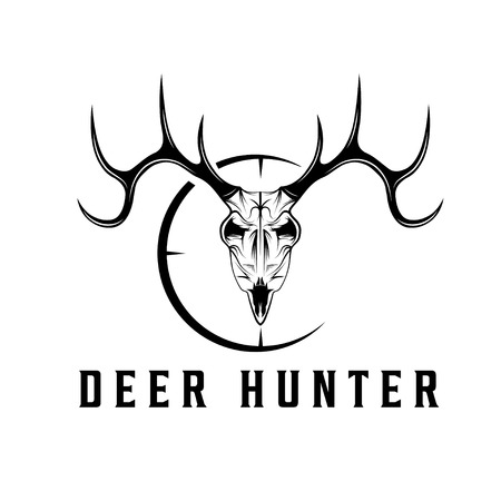 animal head: deer skull with target vector design template