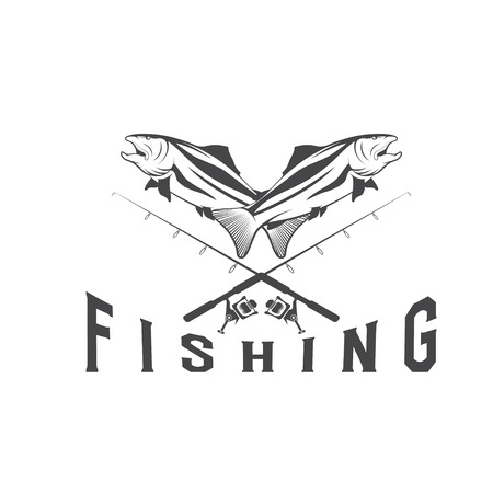 largemouth bass: vintage fishing vector design template