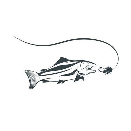 spawning: salmon and lure vector design template