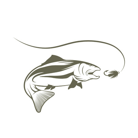 coho: salmon and lure vector design template