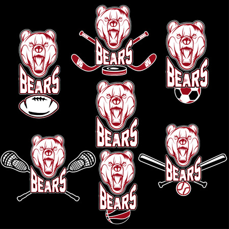 team sport: set of bear sports labels Illustration
