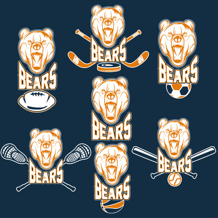 shootout: set of bear sports labels Illustration