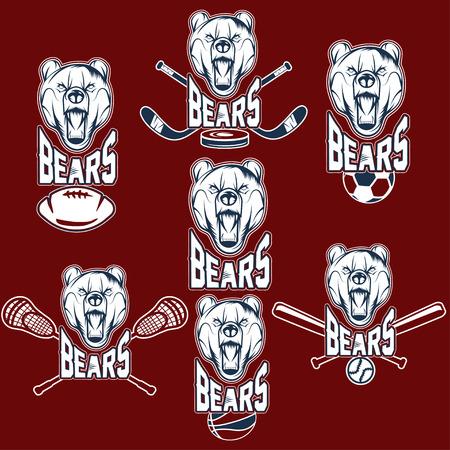 set of bear sports labels Illustration