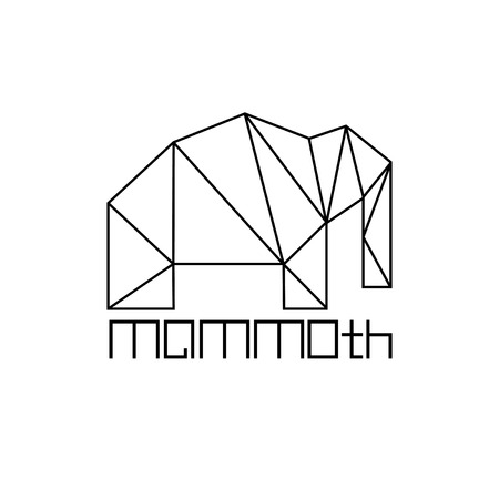 tusks: mammoth in polygon line craft style Illustration