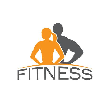 symbol sport: Mann und Frau an Fitness Silhouette Zeichen Vektor Entwurfsvorlage