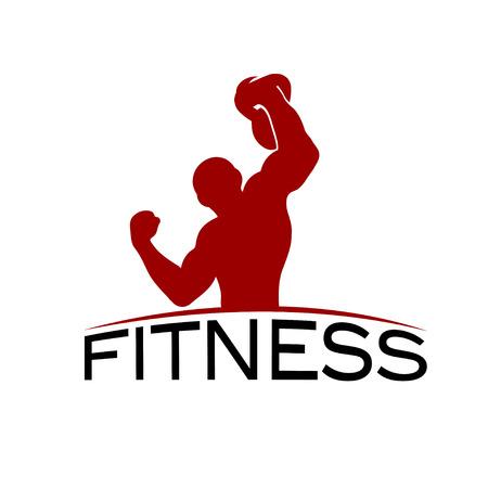 crossbar: Bodybuilder Fitness Model with kettlebell silhouette vector design template