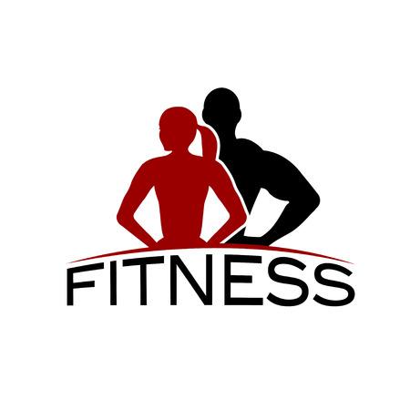 fitness hombres: hombre y mujer de la aptitud de la silueta del vector del car�cter plantilla de dise�o