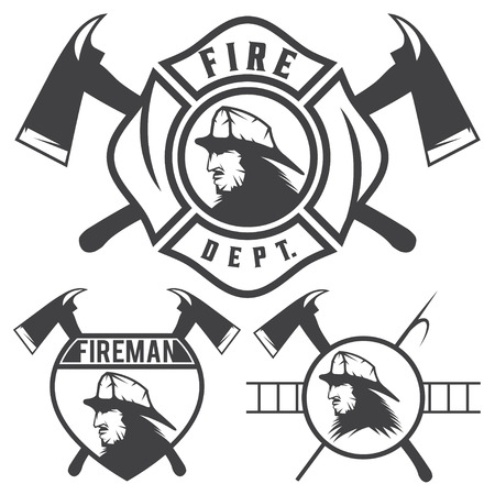 fire department: Set of fire department emblems and badges